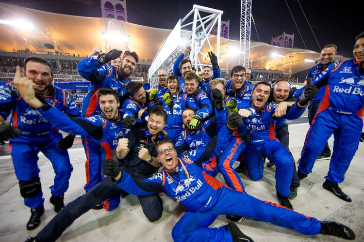 Toro Rosso team celebrate at the 2018 Bahrain GP