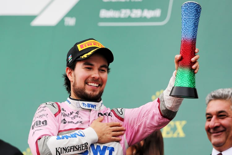 Sergio Perez (MEX) Sahara Force India F1 celebrates his third position on the podium. Azerbaijan Grand Prix, Sunday 29th April 2018. Baku City Circuit, Azerbaijan.