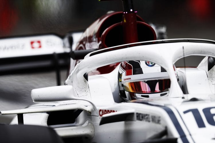 Charles Leclerc driving in the 2018 Azerbaijan Grand Prix