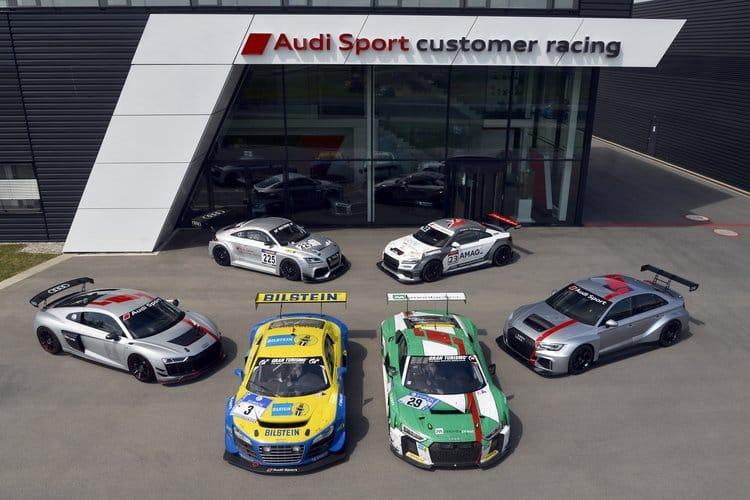 Ten years of Audi Sport customer racing. Back row: Audi TT RS, Audi TT cup. Front row: Audi R8 LMS GT4, Audi R8 LMS ultra, Audi R8 LMS, Audi RS 3 LMS