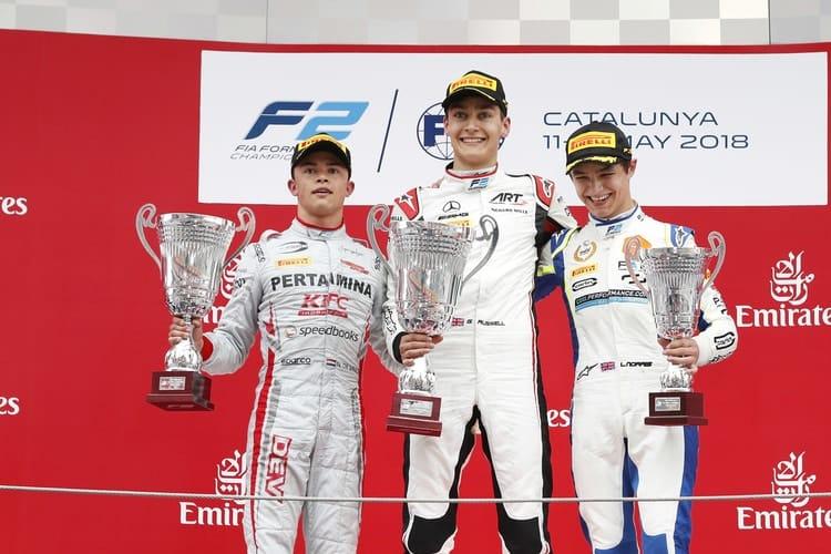 Barcelona Formula 2 feature race podium