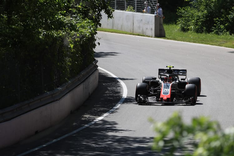 Kevin Magnussen drives around the Circuit Gilles Villenueve