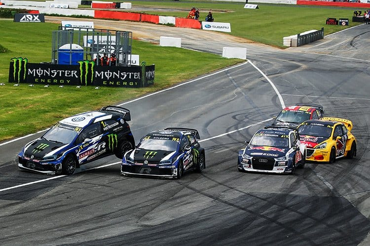 2018 World RX of Great Britain - Semi Final start accident