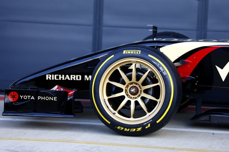 Close-up of 18 inch front tyre on a Lotus F1 car