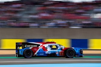 The #11 SMP Racing LMP1 car on track, driven by Jenson Button, Vitaly Petrov and Mikhail Aleshin
