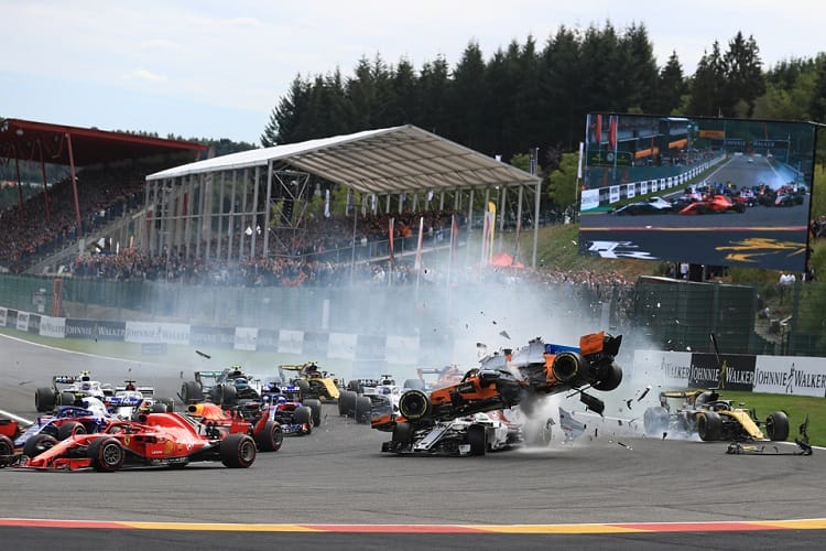 The chaotic start to the Belgian Grand Prix