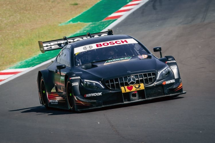 Sébastien Ogier tests the Mercedes-AMG C 63 DTM at Vallelunga