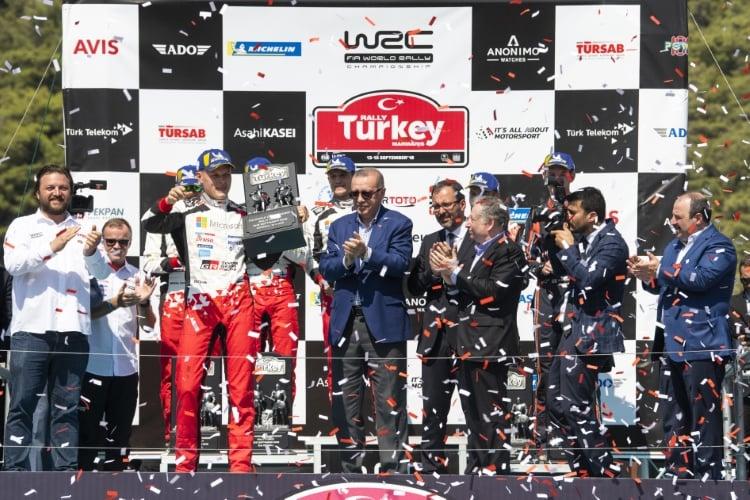 Ott Tanak (EST), Jari-Matti Latvala (FIN), Hayden Paddon (NZL) , Recep Tayyip Erdogan (TRY) , Jean Todt (FRA) celebrate the podium during FIA World Rally Championship 2018 in Marmaris, Turkey on September 16, 2018