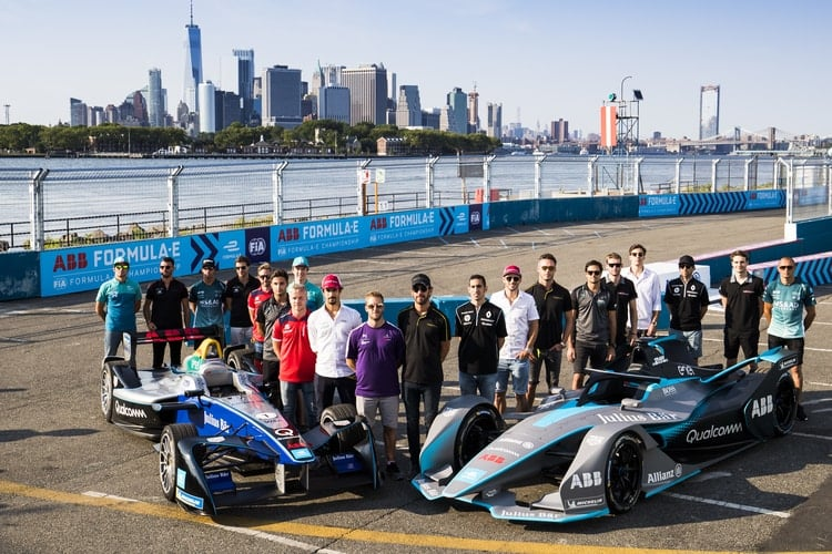 Formula E Grid with Gen-1 and Gen-2 cars in New York City