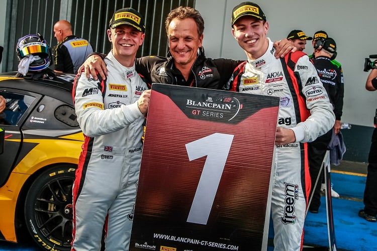 Michael Meadows (left) and Raffaele Marciello (right) celebrate - AKKA ASP Team - Nurburgring