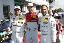 Rene Rast, Gary Paffett, Bruno Spengler- top 3 after qualifying at Nurburgring