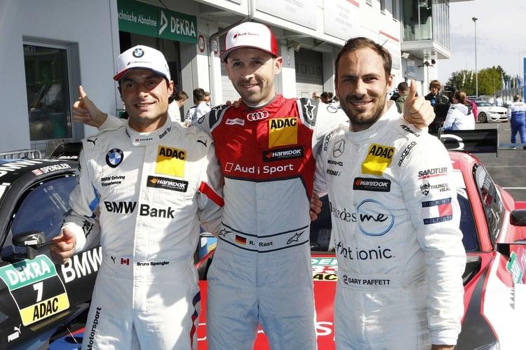 Rene Rast, Gary Paffett, Bruno Spengler- top 3 after qualifying at Nurburgring