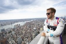Sam Bird next to New York skyline