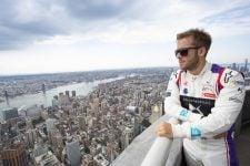 Sam Bird next to New York skyline