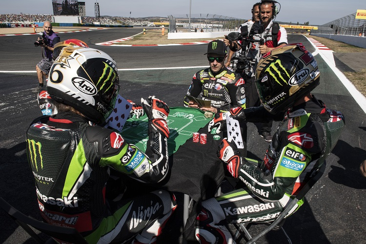 Rea marked the achievement with an entertaining 'Four of a Kind' celebration (Photo Credit: Kawasaki)