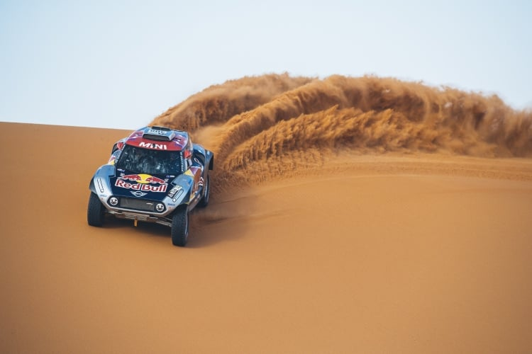 Cyril Despres (FRA) performs aboard the X-raid MINI JCW in Erfoud , Morocco on September 25, 2018