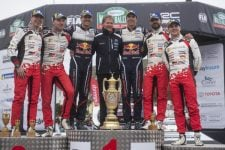 Sebastien Ogier (FRA) , Jari-Matti Latvala (FIN) , Esapekka Lappi (FIN) , Malcolm Wilson (GB) celebrate the podium during FIA World Rally Championship 2018 in Deeside, Great-Britain on October 7, 2018