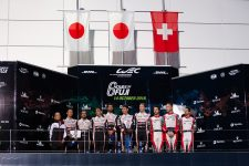 Toyota Gazoo Racing celebrating fourth on-track one-two finish of the season, with #1 Rebellion Racing in thrid.