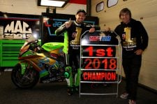 Leon and Ron Haslam Celebrate Title Victory