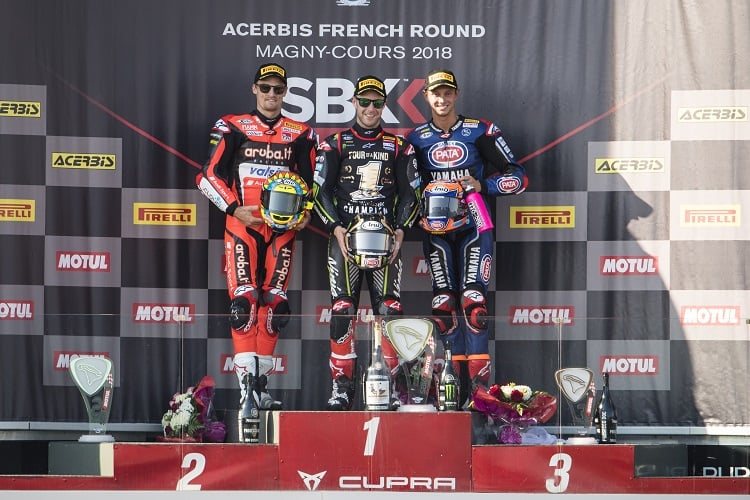 The podium finishers in race two at Magny Cours (Photo Credit: Kawasaki)