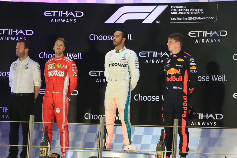 Lewis Hamilton, Sebastian Vettel & Max Verstappen - 2018 Formula 1 Etihad Airways Abu Dhabi Grand Prix podium