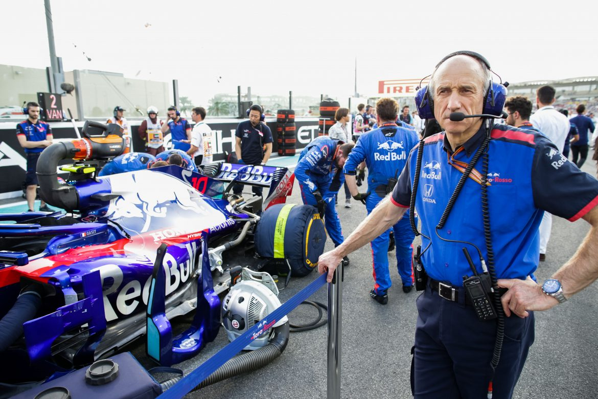 Red Bull Toro Rosso Honda team principal Franz Tost standing on the grid at the 2018 Formula 1 Etihad Airways Abu Dhabi Grand Prix