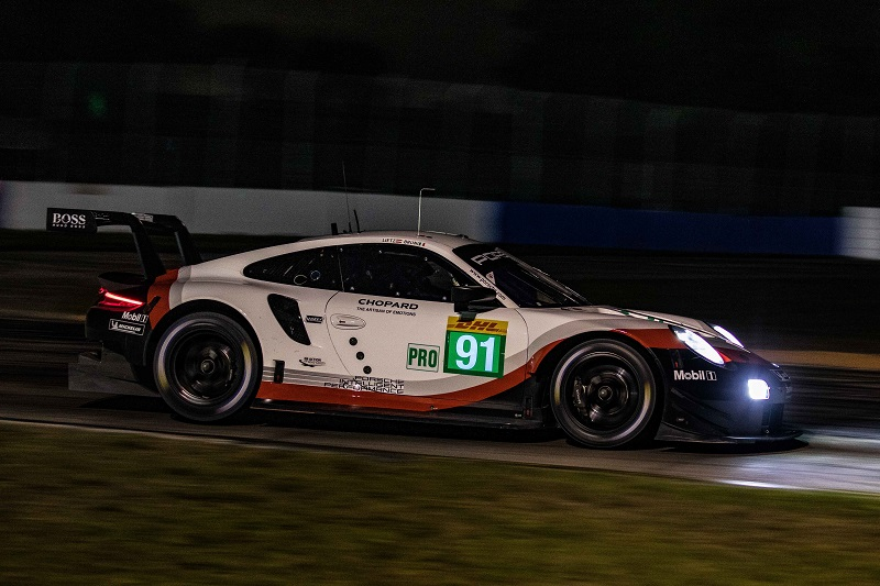 A clever and risky strategy call in the closing moments of the race, as rain hit the track, secured Porsche class victory.