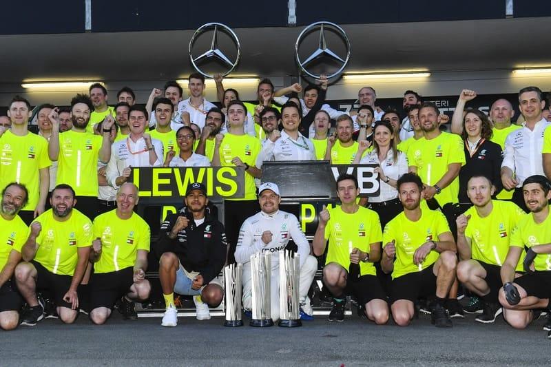 Mercedes-AMG Petronas Motorsport celebrate a fourth one-two finish in Baku