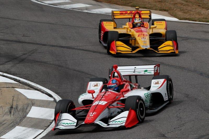 Colton Herta (USA), Harding Steinbrenner Racing, Ryan Hunter-Reay (USA), Andretti Autosport, 2019 NTT IndyCar Series, Barber