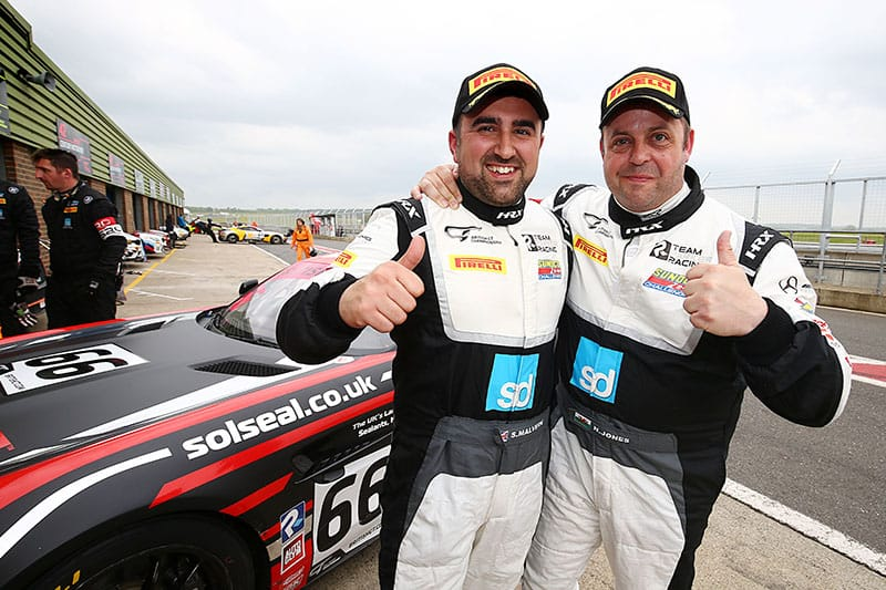 Scott Malvern and Nick Jones celebrate a record pole position for Team Parker Racing.