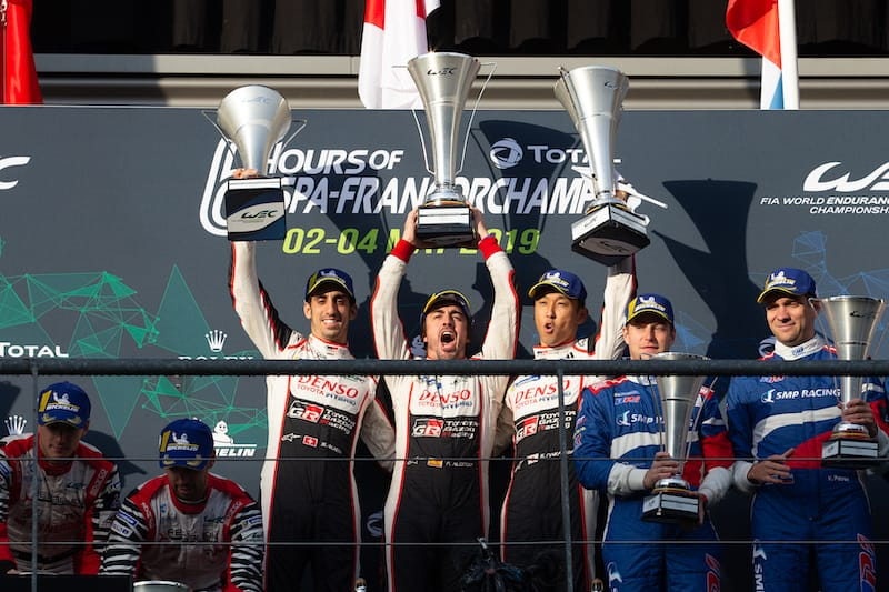 Fernando Alonso, Sebastien Buemi and Kazuki Nakajima on the FIA World Endurance Championship Overall podium.