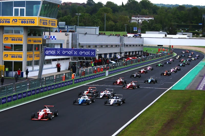 Start of race one at Vallelunga - Credit: Prema Powerteam