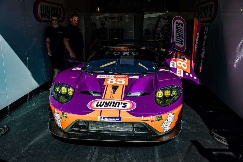 The 2016 Le Mans-winning Ford Livery in sponsor Wynn's purple colours