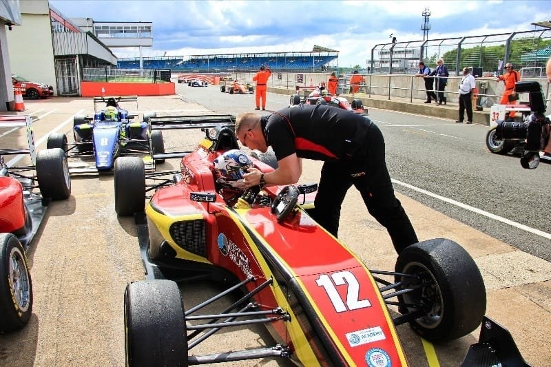 Ayrton Simmons in parc ferme after winning race three at the Silverstone GP circuit