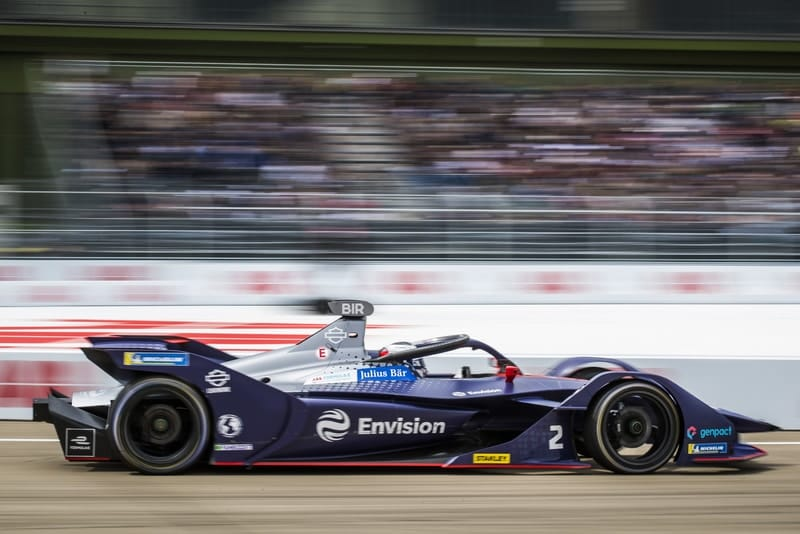 Sam Bird at Berlin Templehof Airport duirng 2019 Berlin ePrix