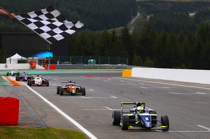 Kaylen Frederick wins race one of the BRDC British F3 race weekend at Spa Francorchamps