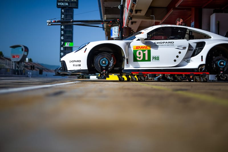 Porsche #91 on jacks in the pit lane during the WEC Prologue