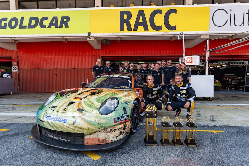Reining Am champions collecting their 24 Hours of Le Mans trophies at Circuit de Barcelona-Catalunya during the WEC Prologue