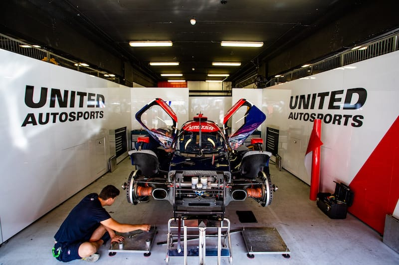 United Autosports in the garage after dropping out of the WEC 4 Hours of Silverstone in the second lap