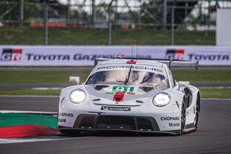 91 Porsche GT Team racing at Silverstone for the WEC four hour event.