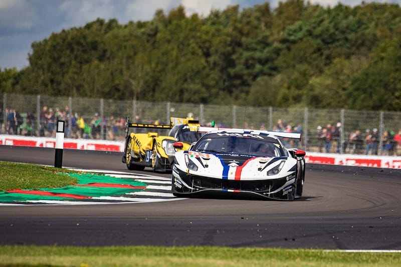 83 AF Corse GTE Am ahead of 29 Team Racing Nederland LMP2 car at Silverstone for the WEC four hour event.