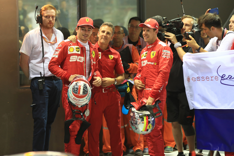 Charles Leclerc and Sebastian Vettel - Scuderia Ferrari at the 2019 Formula 1 Singapore Grand Prix - Marina Bay Street Circuit - Race - Parc Ferme