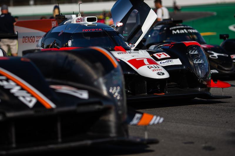 Nose of the #7 Toyota Gazoo Racing in racing traffic