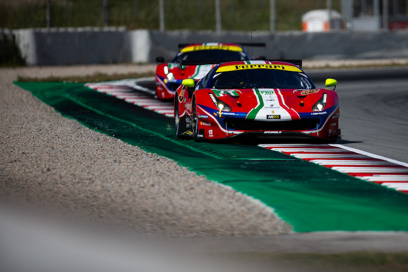 Both AF Corse Pro Ferraris on track with the #71 leading.