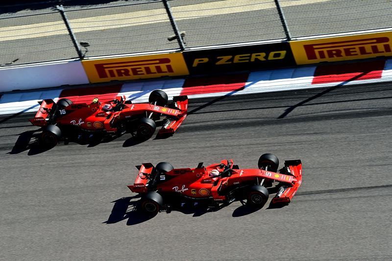 Charles Leclerc & Sebastian Vettel - Scuderia Ferrari in the 2019 Formula 1 Russian Grand Prix - Sochi Autodrom - Race