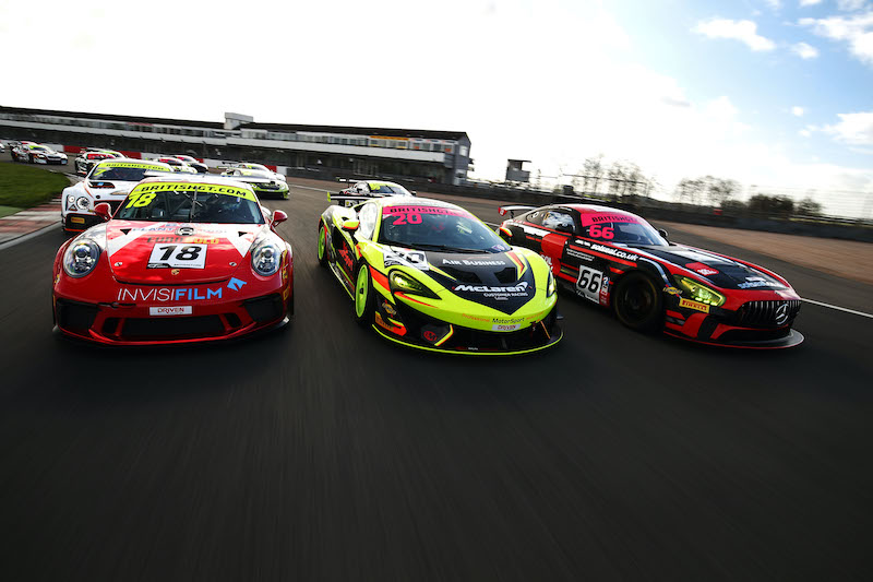 GT4 and GTC cars on track at Donington Park during the 2019 British GT Championship Media Day.
