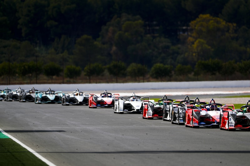 Formula E cars line up for rolling start at Valencia