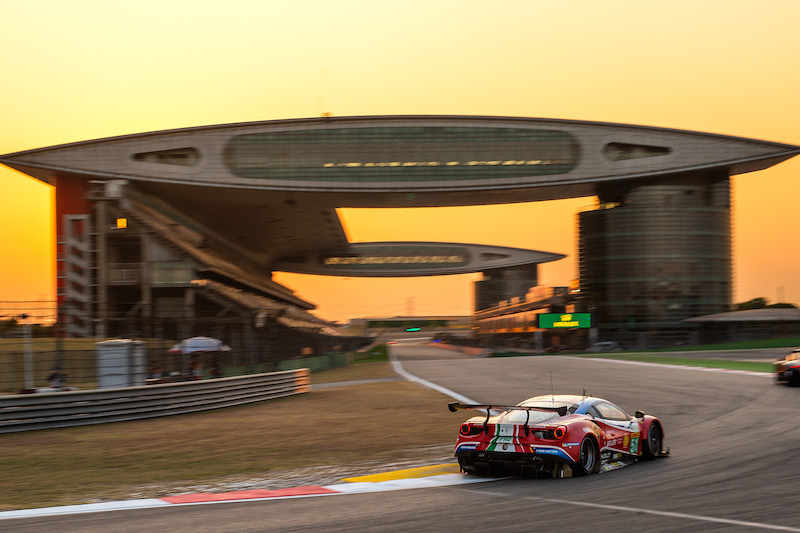 AF Corse #51 on track racing onto the main straight at Shanghai International Circuit, race day 2019