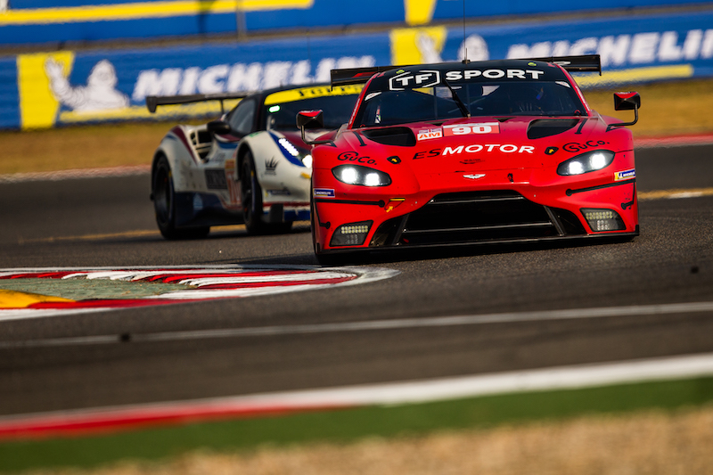 TF Sport #90 racing GTE cars on track at the Shanghai International Circuit, race day 2019