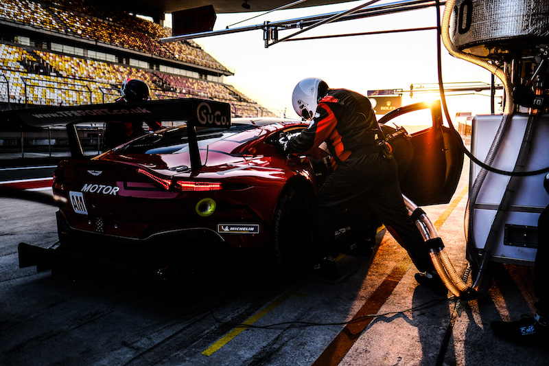#90 TF Sport in pit lane whilst mechanics work on it at Shanghai International Circuit, 2019